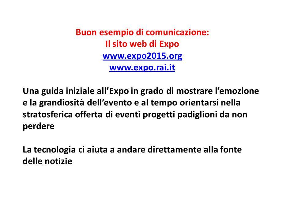 Buon esempio di comunicazione: Il sito web di Expo www.expo2015.org www.expo.rai.it Una guida iniziale all'Expo in grado di mostrare l'emozione e la g