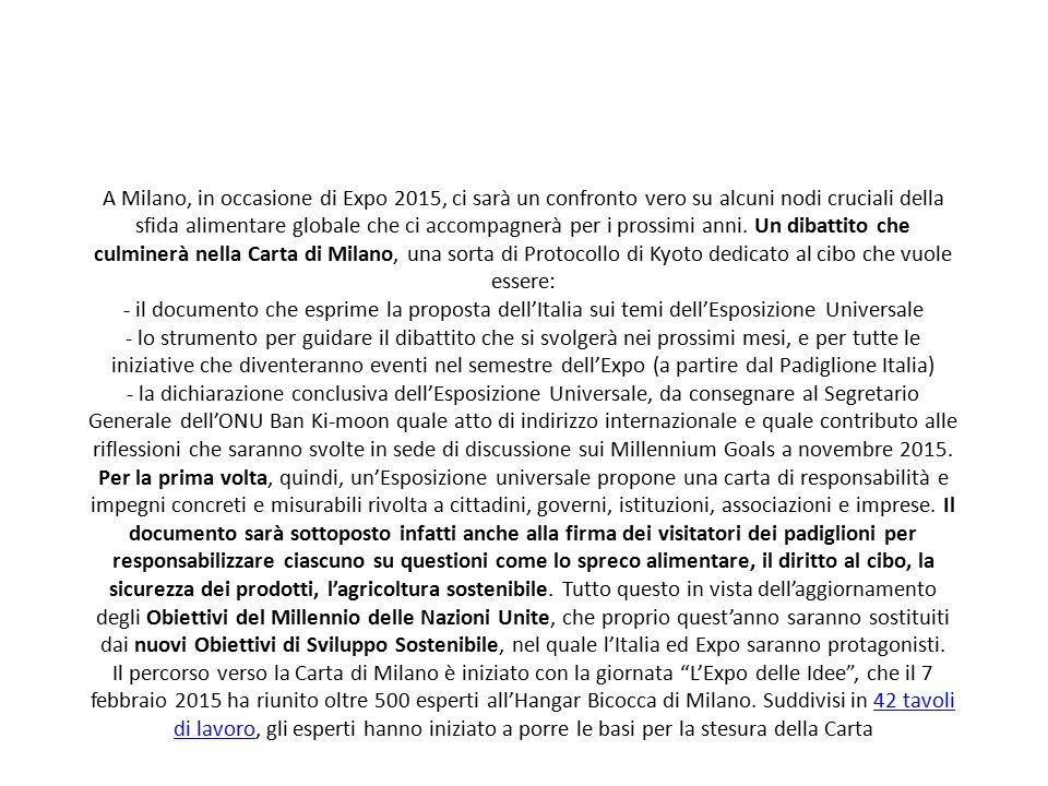 A Milano, in occasione di Expo 2015, ci sarà un confronto vero su alcuni nodi cruciali della sfida alimentare globale che ci accompagnerà per i prossi