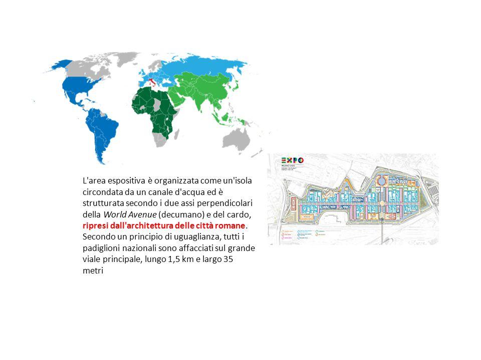 L'area espositiva è organizzata come un'isola circondata da un canale d'acqua ed è strutturata secondo i due assi perpendicolari della World Avenue (d