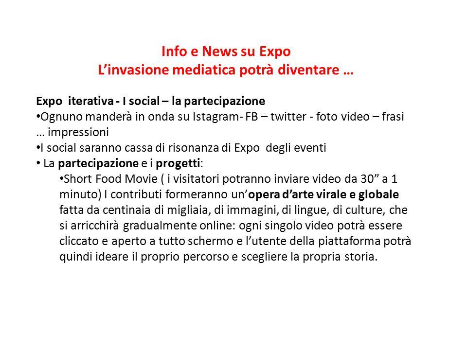 Info e News su Expo L'invasione mediatica potrà diventare … Expo iterativa - I social – la partecipazione Ognuno manderà in onda su Istagram- FB – twi
