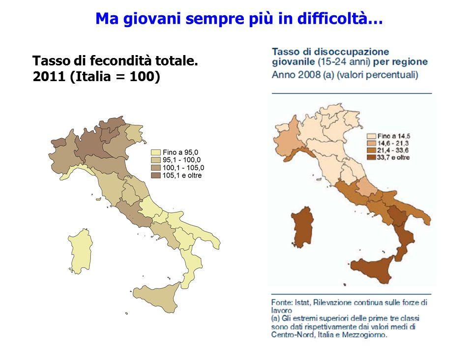 Tasso di fecondità totale. 2011 (Italia = 100) Ma giovani sempre più in difficoltà…