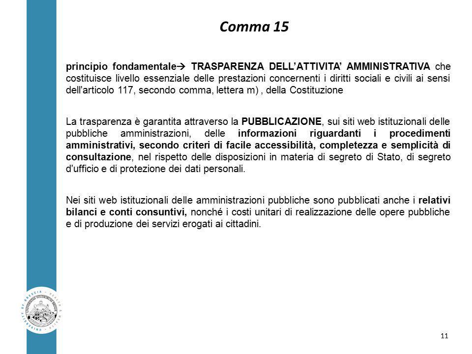 Comma 15 principio fondamentale  TRASPARENZA DELL'ATTIVITA' AMMINISTRATIVA che costituisce livello essenziale delle prestazioni concernenti i diritti sociali e civili ai sensi dell articolo 117, secondo comma, lettera m), della Costituzione La trasparenza è garantita attraverso la PUBBLICAZIONE, sui siti web istituzionali delle pubbliche amministrazioni, delle informazioni riguardanti i procedimenti amministrativi, secondo criteri di facile accessibilità, completezza e semplicità di consultazione, nel rispetto delle disposizioni in materia di segreto di Stato, di segreto d ufficio e di protezione dei dati personali.