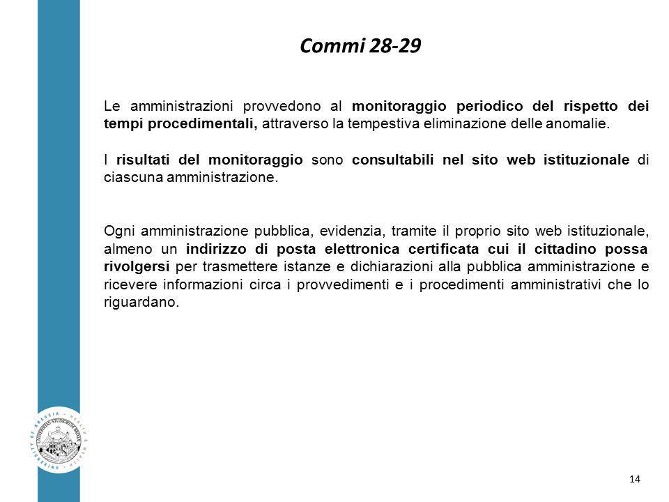 Commi 28-29 Le amministrazioni provvedono al monitoraggio periodico del rispetto dei tempi procedimentali, attraverso la tempestiva eliminazione delle anomalie.