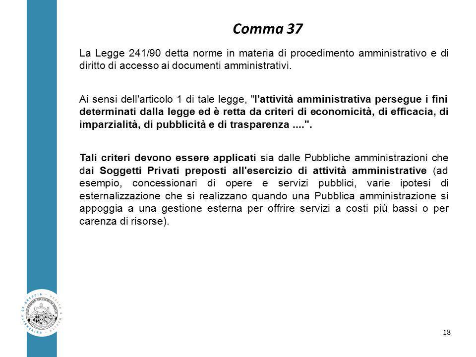Comma 37 La Legge 241/90 detta norme in materia di procedimento amministrativo e di diritto di accesso ai documenti amministrativi.