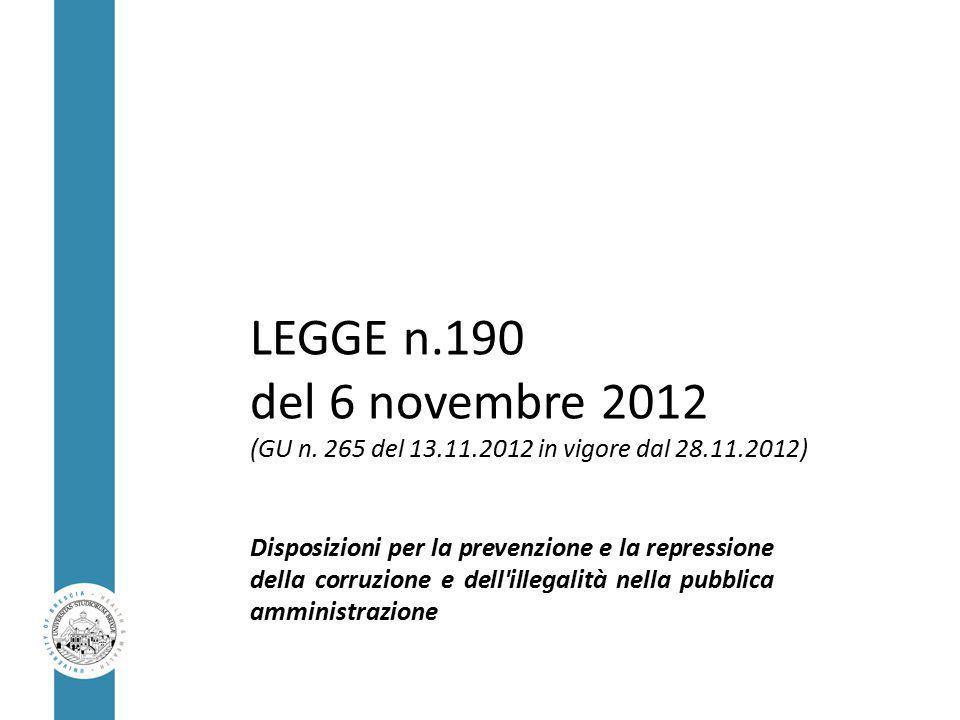 LEGGE n.190 del 6 novembre 2012 (GU n.
