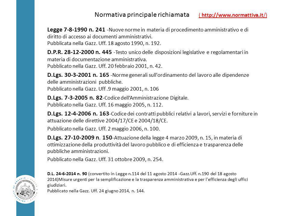 Normativa principale richiamata ( http://www.normattiva.it/) Legge 7-8-1990 n.