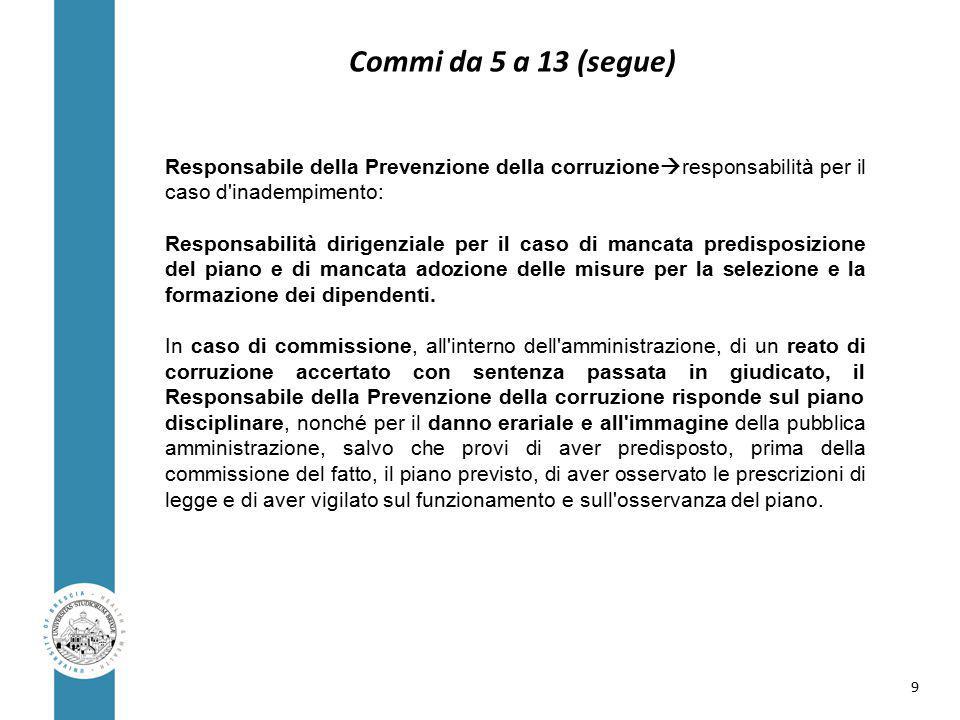Responsabile della Prevenzione della corruzione  responsabilità per il caso d inadempimento: Responsabilità dirigenziale per il caso di mancata predisposizione del piano e di mancata adozione delle misure per la selezione e la formazione dei dipendenti.