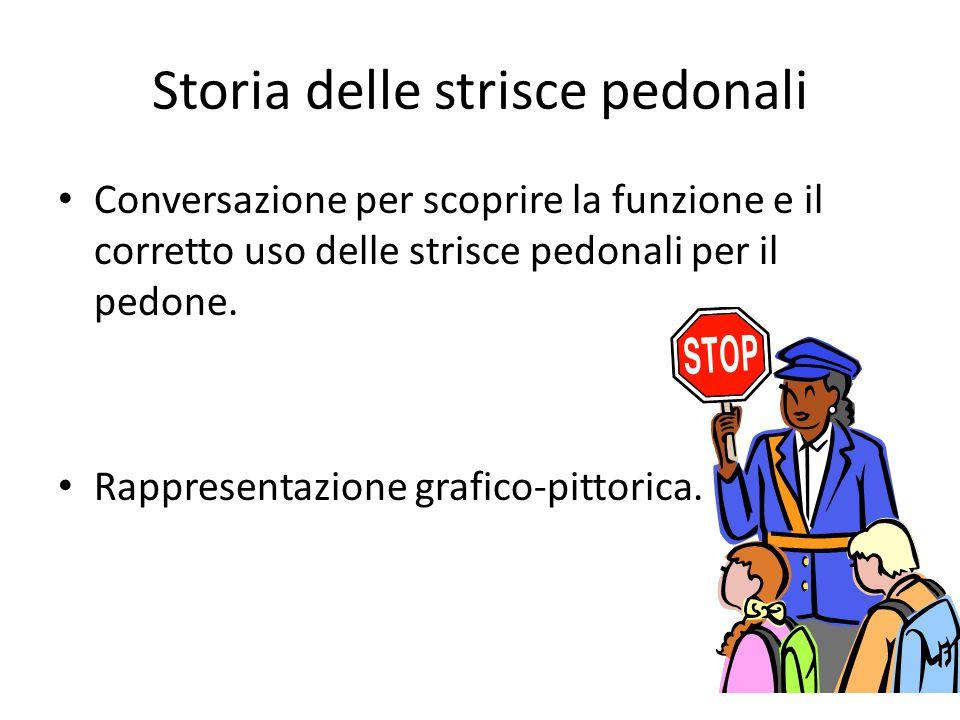 Storia delle strisce pedonali Conversazione per scoprire la funzione e il corretto uso delle strisce pedonali per il pedone. Rappresentazione grafico-