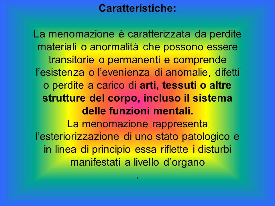 Caratteristiche: La menomazione è caratterizzata da perdite materiali o anormalità che possono essere transitorie o permanenti e comprende l'esistenza
