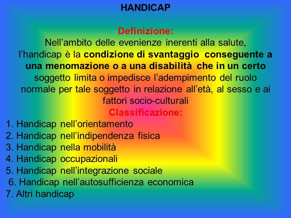 HANDICAP Definizione: Nell'ambito delle evenienze inerenti alla salute, l'handicap è la condizione di svantaggio conseguente a una menomazione o a una
