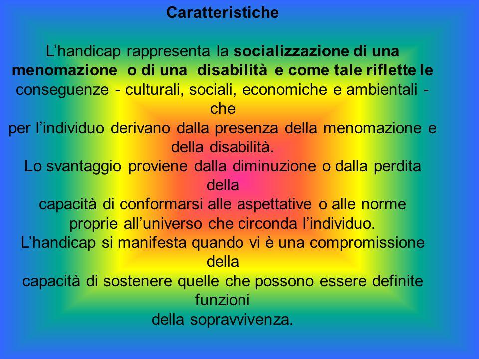 Caratteristiche L'handicap rappresenta la socializzazione di una menomazione o di una disabilità e come tale riflette le conseguenze - culturali, soci