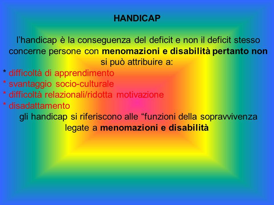HANDICAP l'handicap è la conseguenza del deficit e non il deficit stesso concerne persone con menomazioni e disabilità pertanto non si può attribuire
