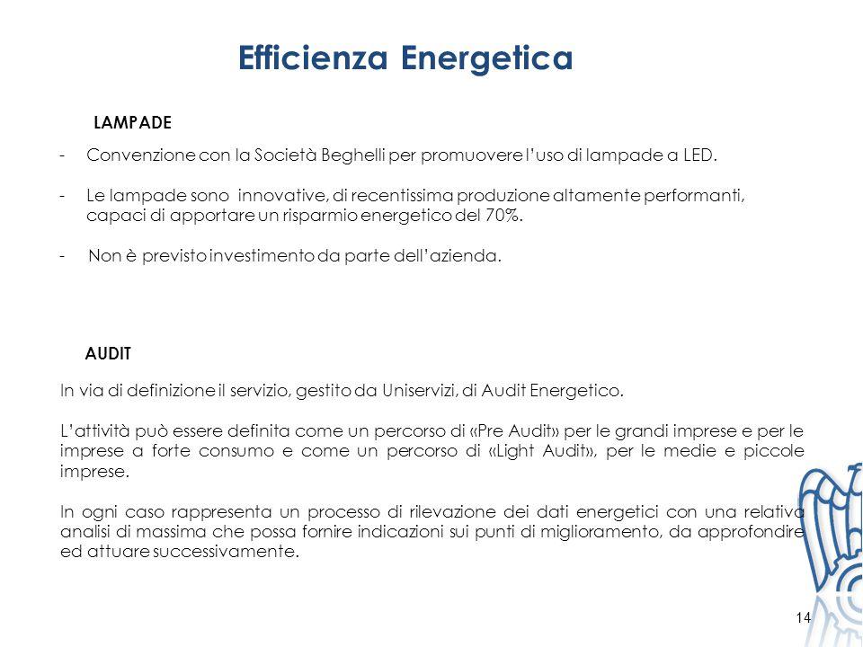 Efficienza Energetica 14 -Convenzione con la Società Beghelli per promuovere l'uso di lampade a LED.