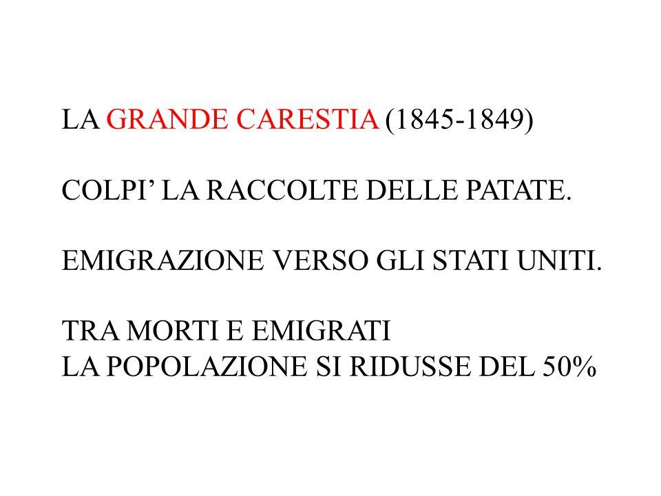LA GRANDE CARESTIA (1845-1849) COLPI' LA RACCOLTE DELLE PATATE. EMIGRAZIONE VERSO GLI STATI UNITI. TRA MORTI E EMIGRATI LA POPOLAZIONE SI RIDUSSE DEL