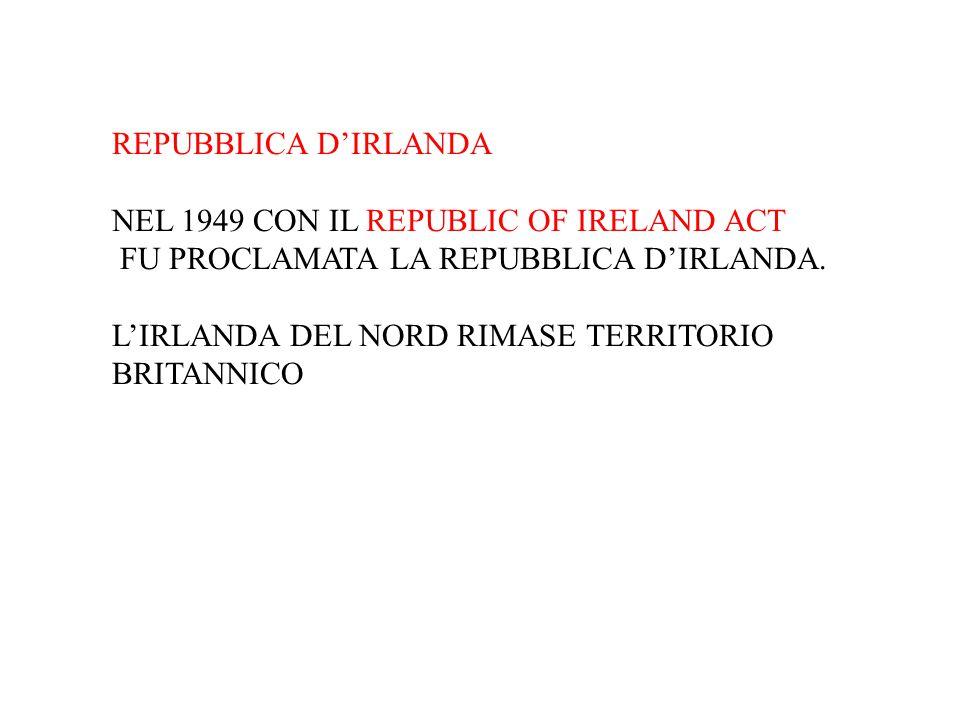 REPUBBLICA D'IRLANDA NEL 1949 CON IL REPUBLIC OF IRELAND ACT FU PROCLAMATA LA REPUBBLICA D'IRLANDA. L'IRLANDA DEL NORD RIMASE TERRITORIO BRITANNICO