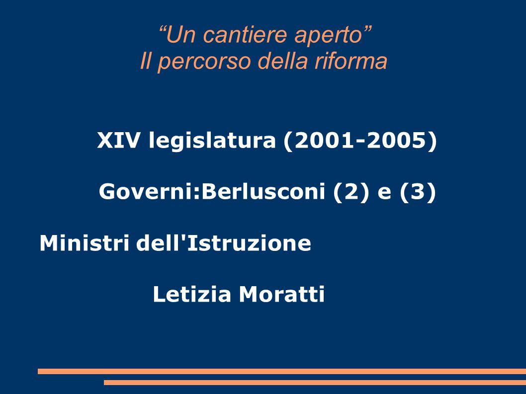 Un cantiere aperto Il percorso della riforma XIV legislatura (2001-2005) Governi:Berlusconi (2) e (3) Ministri dell Istruzione Letizia Moratti