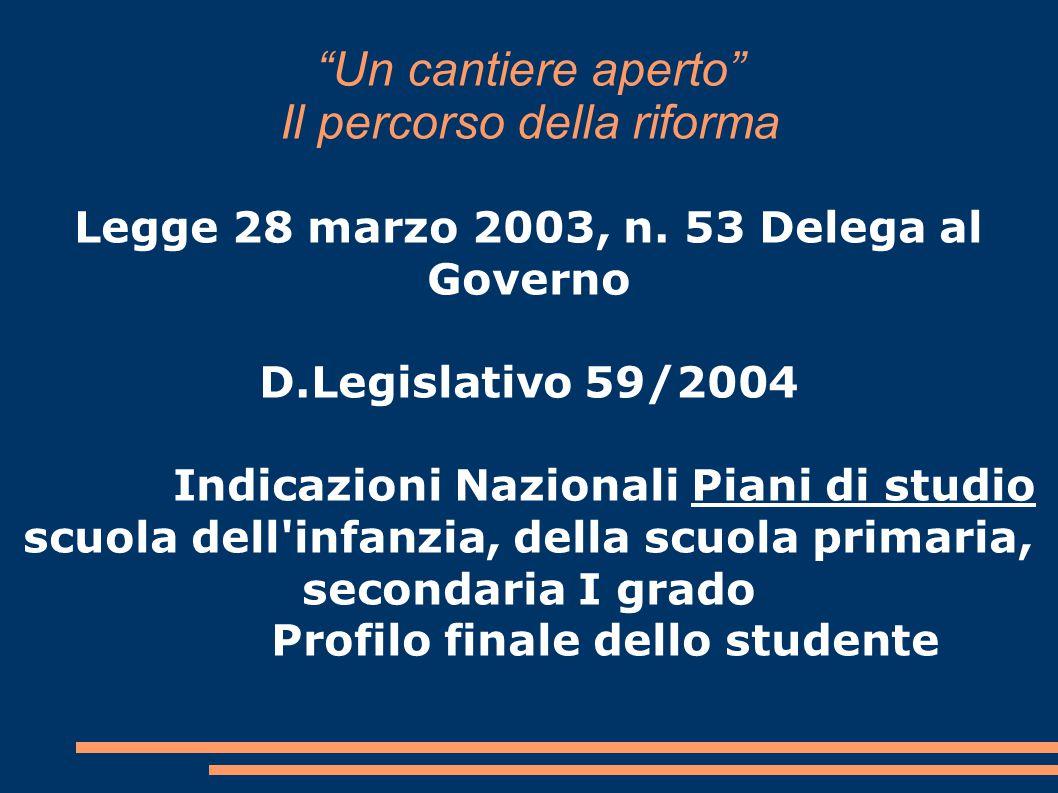 """""""Un cantiere aperto"""" Il percorso della riforma Legge 28 marzo 2003, n. 53 Delega al Governo D.Legislativo 59/2004 Indicazioni Nazionali Piani di studi"""