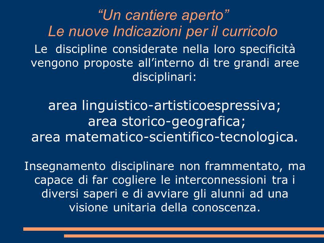 """""""Un cantiere aperto"""" Le nuove Indicazioni per il curricolo Le discipline considerate nella loro specificità vengono proposte all'interno di tre grandi"""