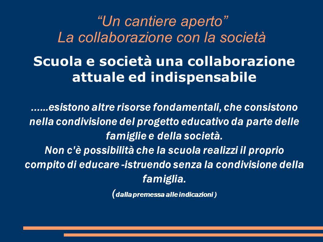 Un cantiere aperto La collaborazione con la società Scuola e società una collaborazione attuale ed indispensabile......esistono altre risorse fondamentali, che consistono nella condivisione del progetto educativo da parte delle famiglie e della società.