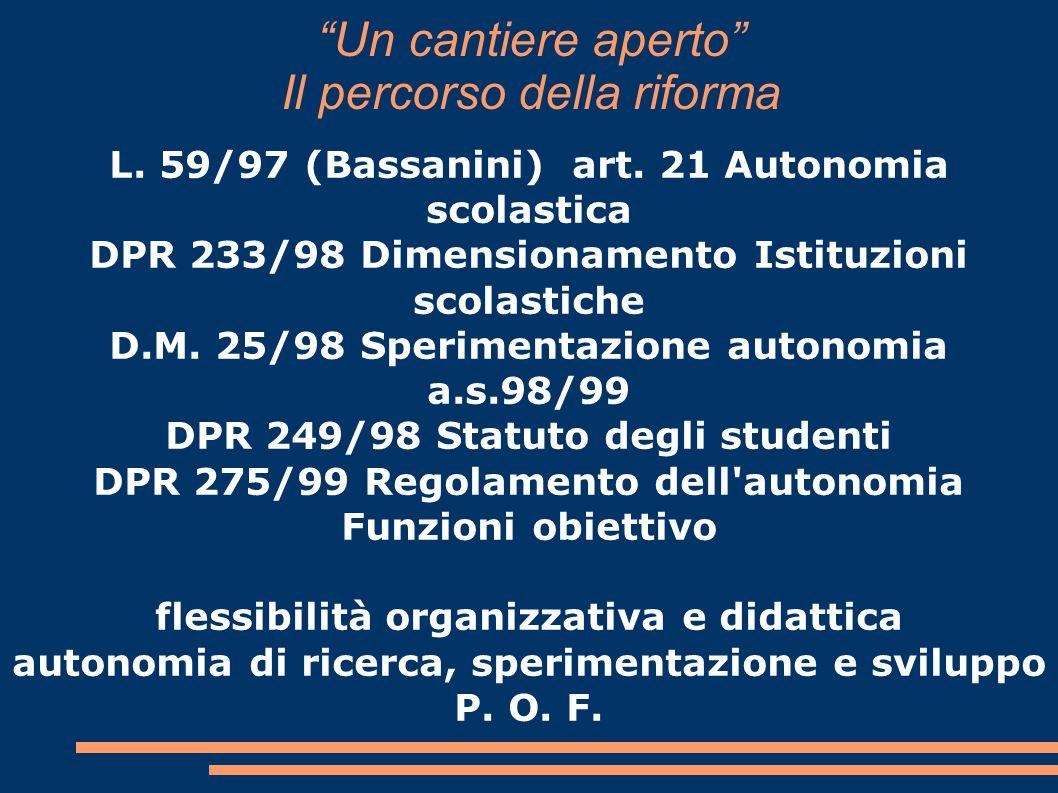 """""""Un cantiere aperto"""" Il percorso della riforma L. 59/97 (Bassanini) art. 21 Autonomia scolastica DPR 233/98 Dimensionamento Istituzioni scolastiche D."""