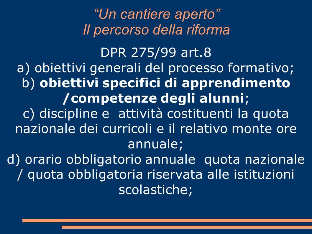 """""""Un cantiere aperto"""" Il percorso della riforma DPR 275/99 art.8 a) obiettivi generali del processo formativo; b) obiettivi specifici di apprendimento"""