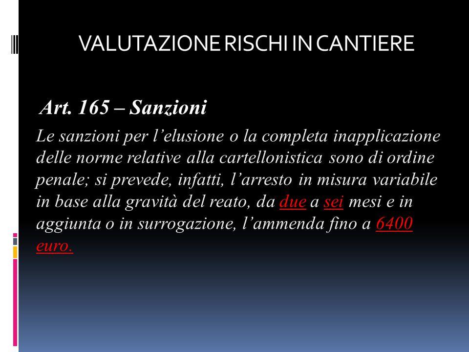 Art. 165 – Sanzioni Le sanzioni per l'elusione o la completa inapplicazione delle norme relative alla cartellonistica sono di ordine penale; si preved