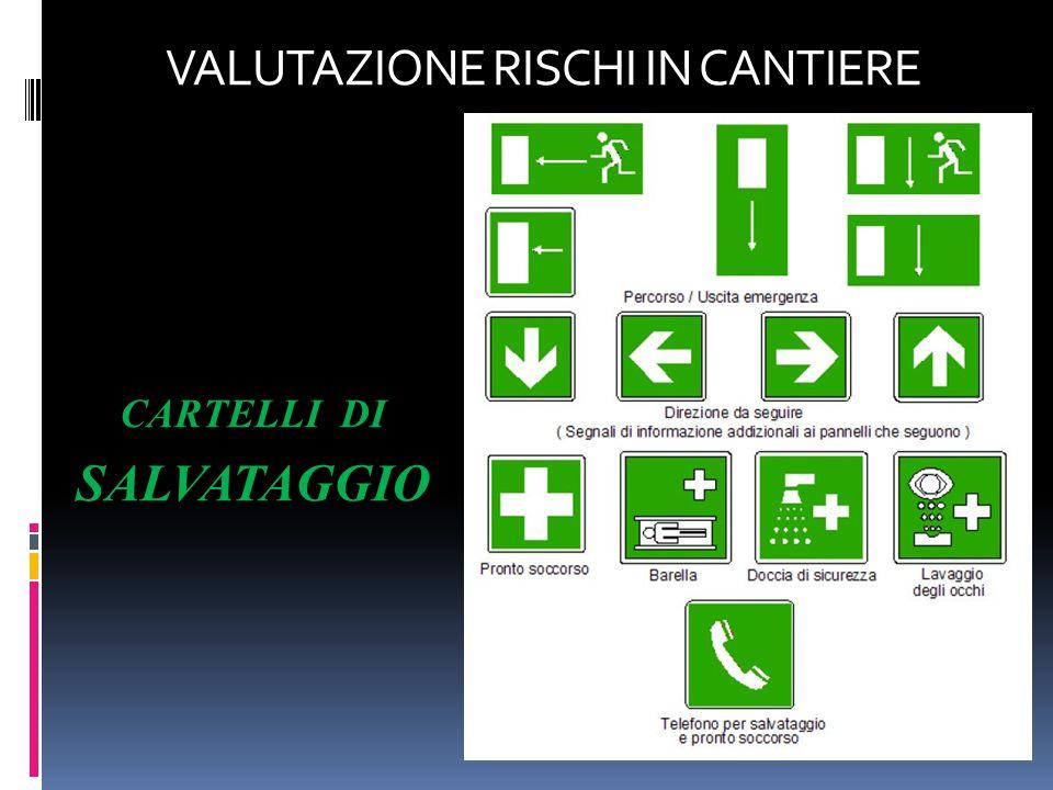 CARTELLI DI SALVATAGGIO VALUTAZIONE RISCHI IN CANTIERE