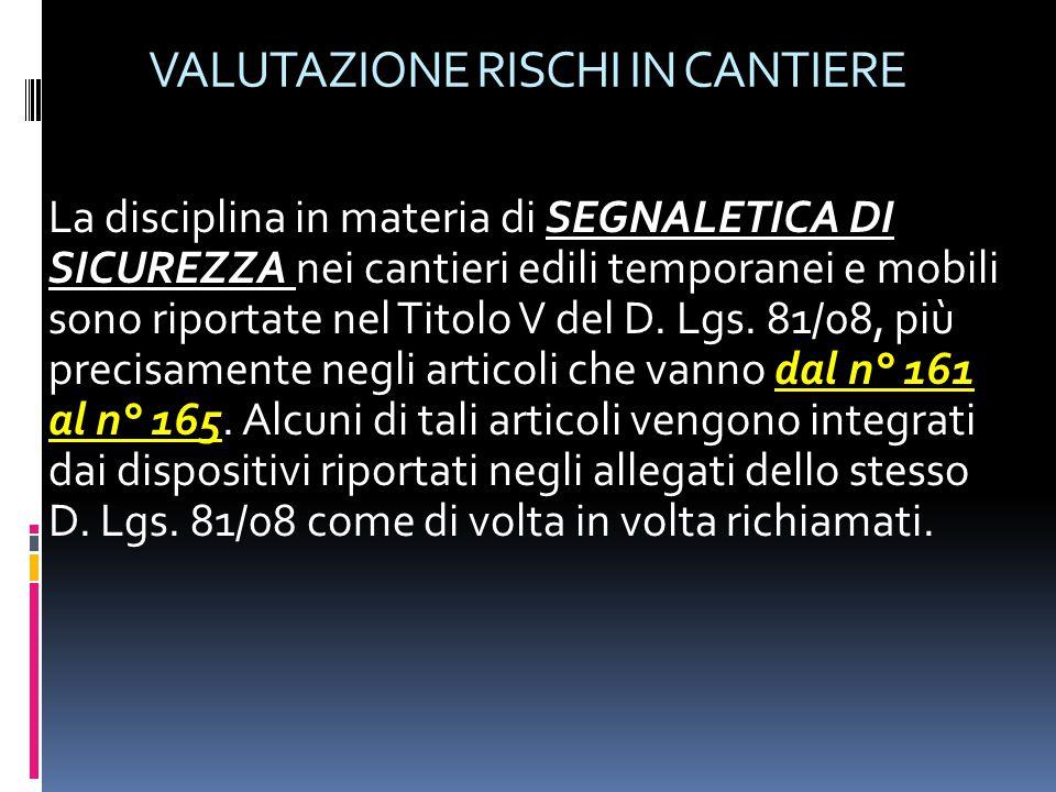 VALUTAZIONE RISCHI IN CANTIERE Articolo 161 - Campo di applicazione 1.