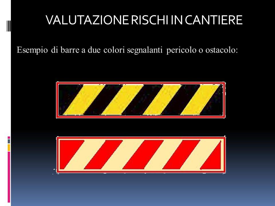 Esempio di barre a due colori segnalanti pericolo o ostacolo: VALUTAZIONE RISCHI IN CANTIERE