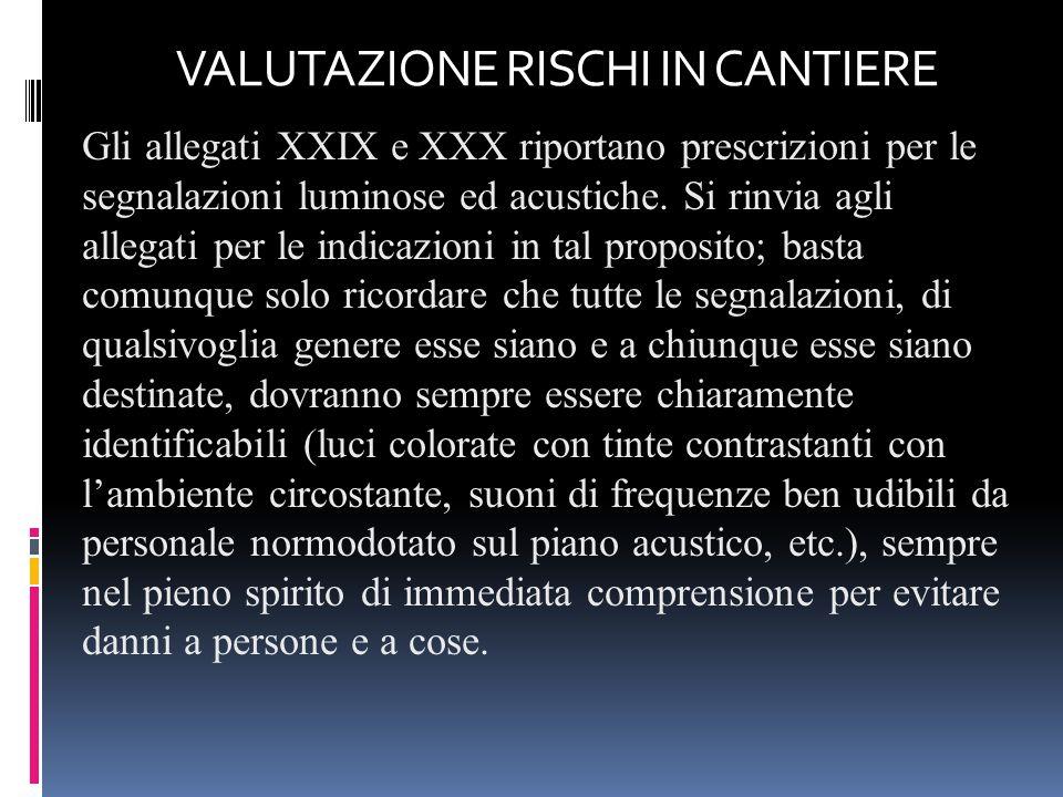 Gli allegati XXIX e XXX riportano prescrizioni per le segnalazioni luminose ed acustiche. Si rinvia agli allegati per le indicazioni in tal proposito;