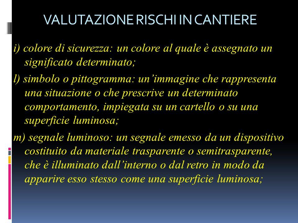 VALUTAZIONE RISCHI IN CANTIERE i) colore di sicurezza: un colore al quale è assegnato un significato determinato; l) simbolo o pittogramma: un'immagin