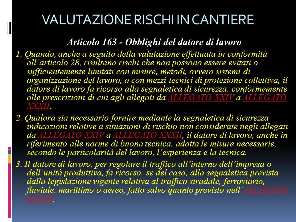 VALUTAZIONE RISCHI IN CANTIERE Articolo 163 - Obblighi del datore di lavoro 1. Quando, anche a seguito della valutazione effettuata in conformità all'