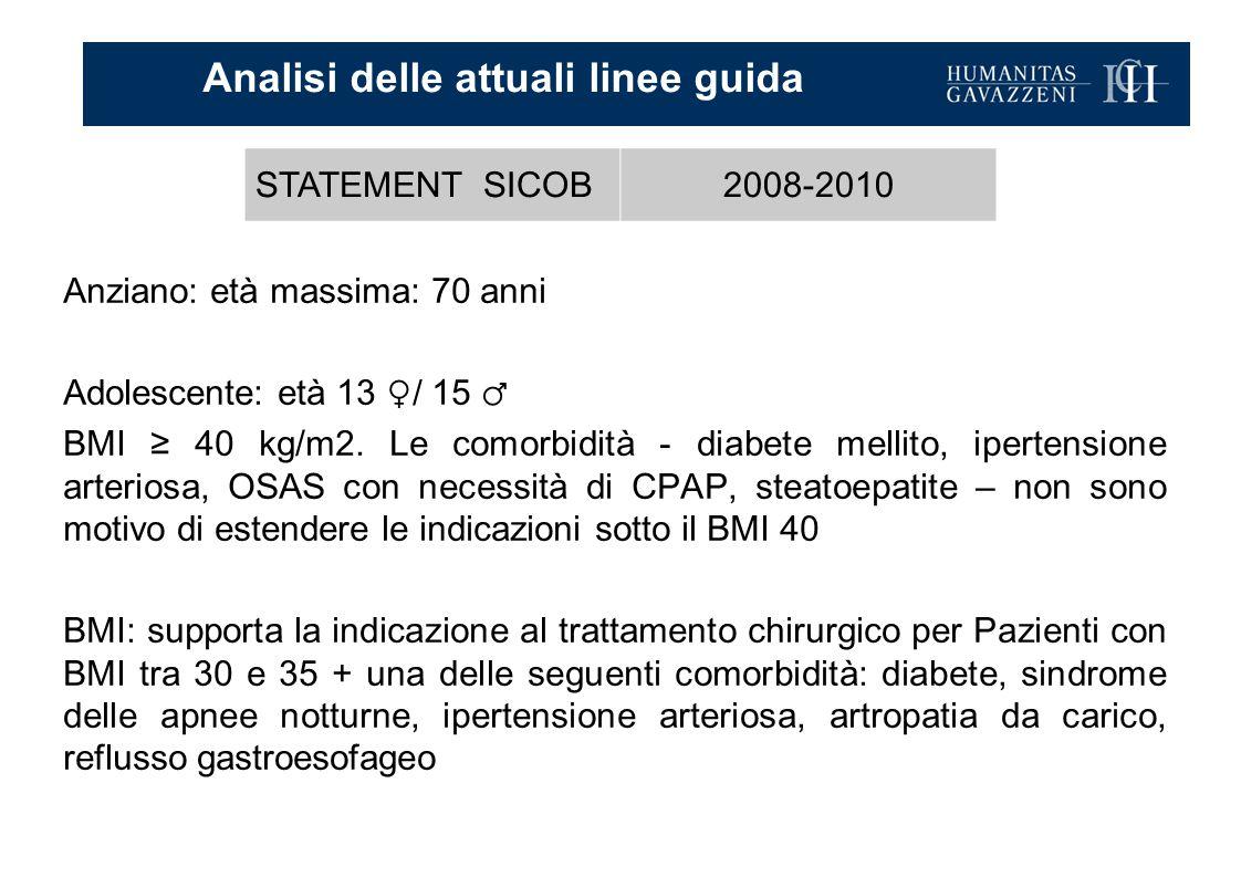Anziano: età massima: 70 anni Adolescente: età 13 ♀/ 15 ♂ BMI ≥ 40 kg/m2. Le comorbidità - diabete mellito, ipertensione arteriosa, OSAS con necessità