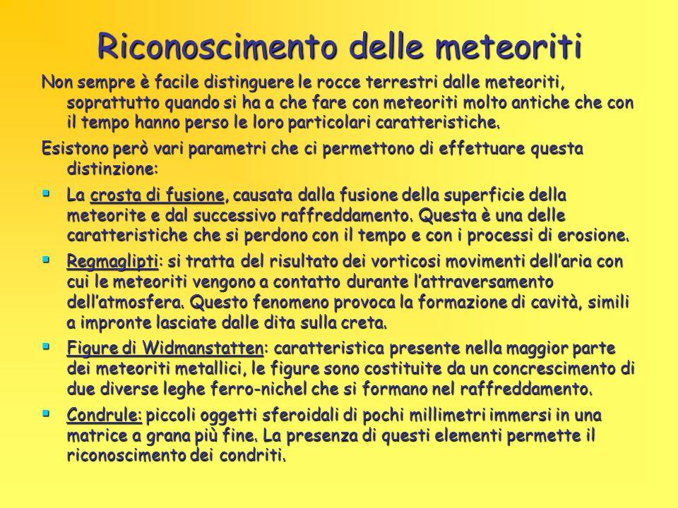 Riconoscimento delle meteoriti Non sempre è facile distinguere le rocce terrestri dalle meteoriti, soprattutto quando si ha a che fare con meteoriti m