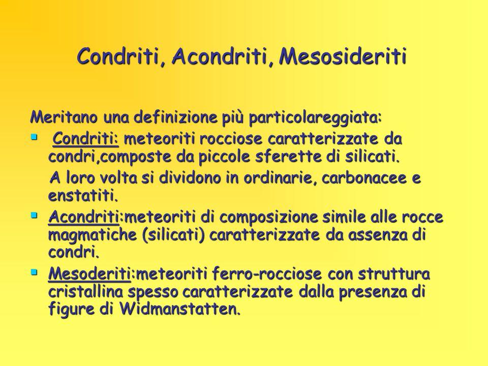 Condriti, Acondriti, Mesosideriti Meritano una definizione più particolareggiata:  Condriti: meteoriti rocciose caratterizzate da condri,composte da piccole sferette di silicati.
