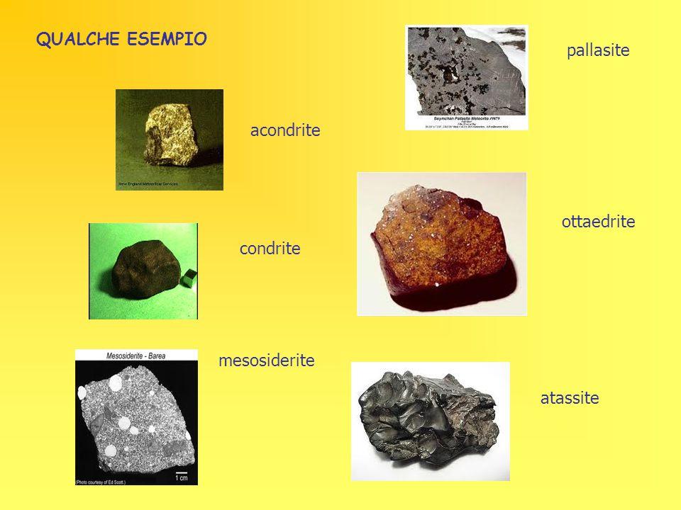 acondrite condrite mesosiderite pallasite ottaedrite atassite QUALCHE ESEMPIO