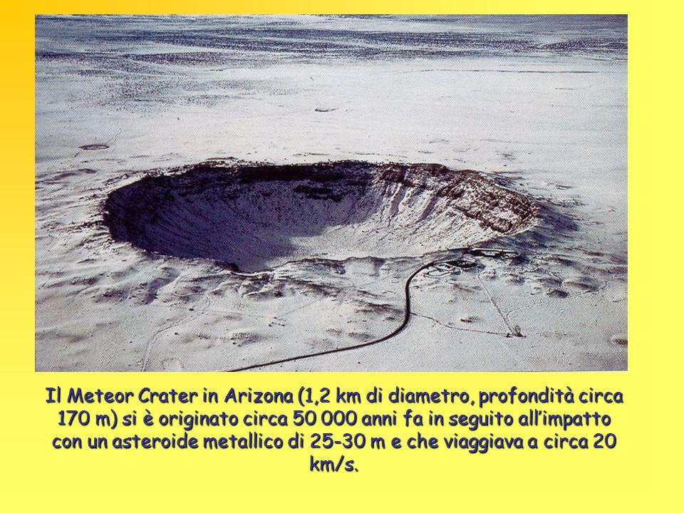 Il Meteor Crater in Arizona (1,2 km di diametro, profondità circa 170 m) si è originato circa 50 000 anni fa in seguito all'impatto con un asteroide m
