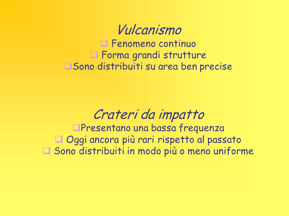 Vulcanismo  Fenomeno continuo  Forma grandi strutture  Sono distribuiti su area ben precise Crateri da impatto  Presentano una bassa frequenza  O