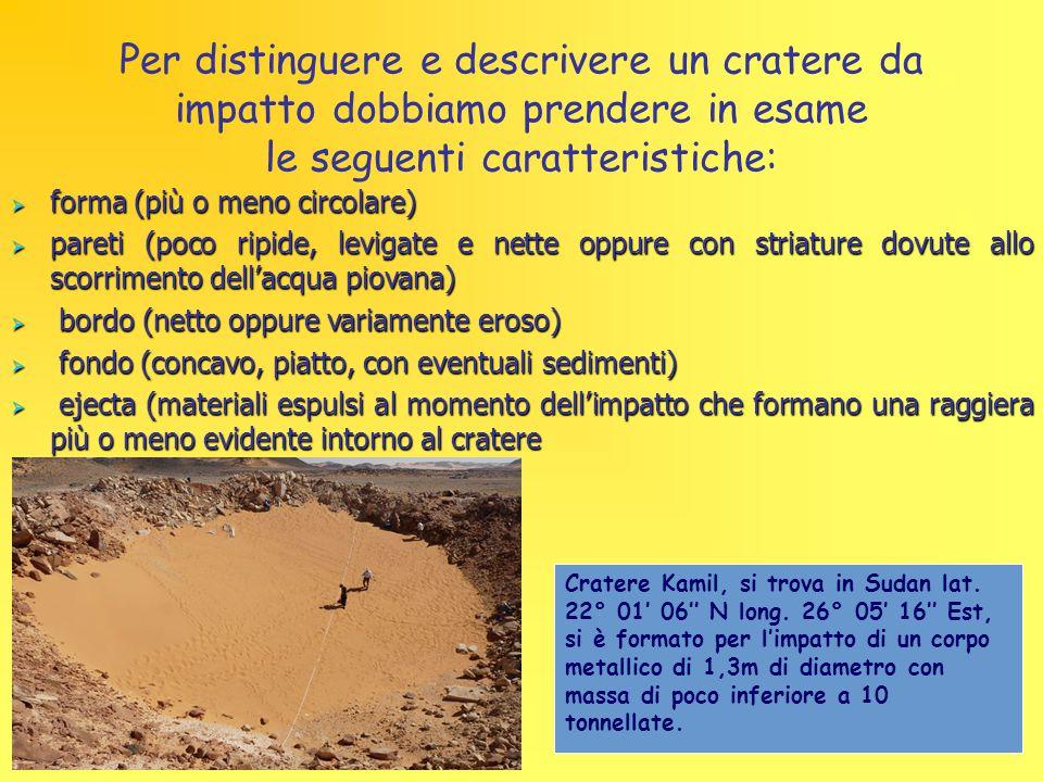 Per distinguere e descrivere un cratere da impatto dobbiamo prendere in esame le seguenti caratteristiche:  forma (più o meno circolare)  pareti (po