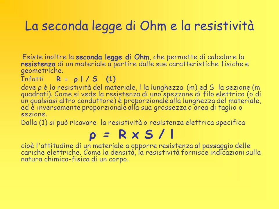 La seconda legge di Ohm e la resistività Esiste inoltre la seconda legge di Ohm, che permette di calcolare la resistenza di un materiale a partire dal