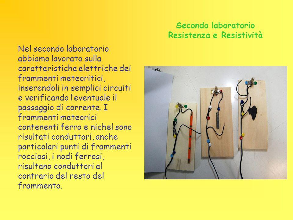 Secondo laboratorio Resistenza e Resistività Nel secondo laboratorio abbiamo lavorato sulla caratteristiche elettriche dei frammenti meteoritici, inserendoli in semplici circuiti e verificando l'eventuale il passaggio di corrente.