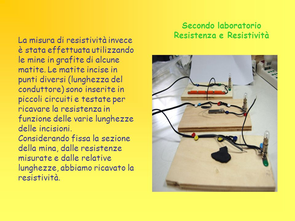 Secondo laboratorio Resistenza e Resistività La misura di resistività invece è stata effettuata utilizzando le mine in grafite di alcune matite. Le ma