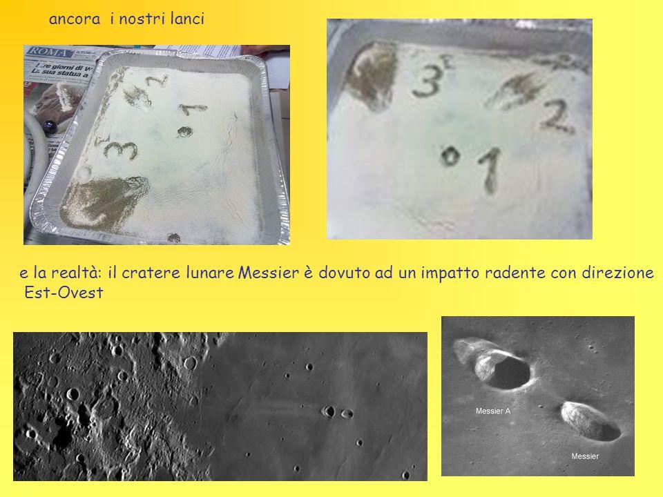 ancora i nostri lanci e la realtà: il cratere lunare Messier è dovuto ad un impatto radente con direzione Est-Ovest
