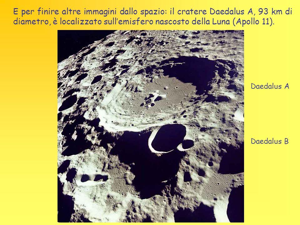 E per finire altre immagini dallo spazio: il cratere Daedalus A, 93 km di diametro, è localizzato sull'emisfero nascosto della Luna (Apollo 11). Daeda