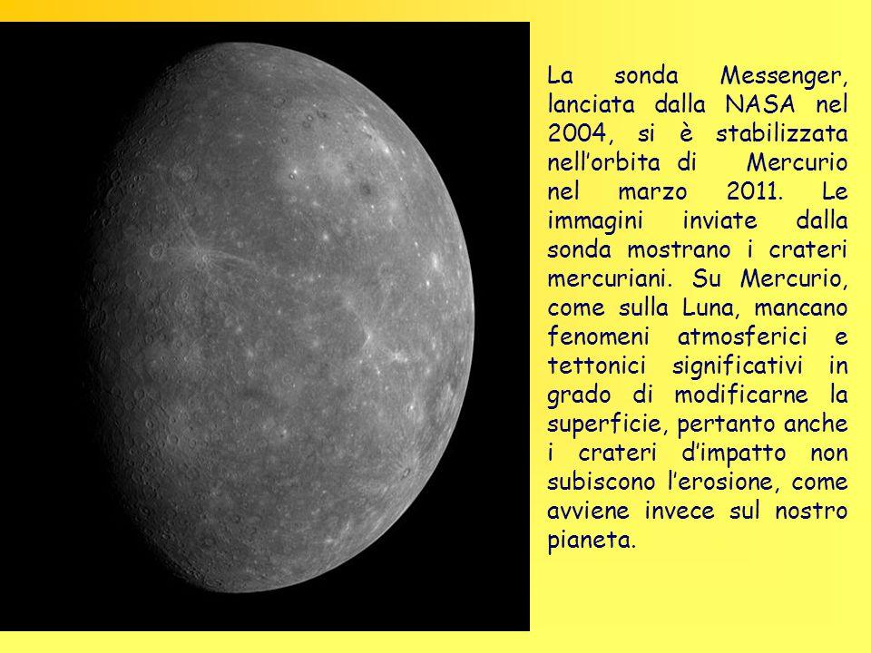 La sonda Messenger, lanciata dalla NASA nel 2004, si è stabilizzata nell'orbita di Mercurio nel marzo 2011. Le immagini inviate dalla sonda mostrano i