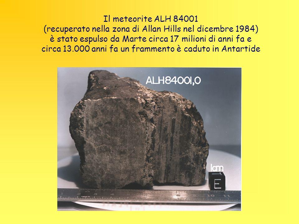 Il meteorite ALH 84001 (recuperato nella zona di Allan Hills nel dicembre 1984) è stato espulso da Marte circa 17 milioni di anni fa e circa 13.000 anni fa un frammento è caduto in Antartide