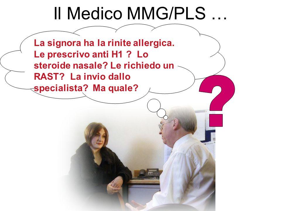 Il Medico MMG/PLS … La signora ha la rinite allergica. Le prescrivo anti H1 ? Lo steroide nasale? Le richiedo un RAST? La invio dallo specialista? Ma