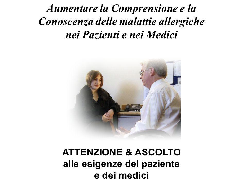 Aumentare la Comprensione e la Conoscenza delle malattie allergiche nei Pazienti e nei Medici ATTENZIONE & ASCOLTO alle esigenze del paziente e dei me