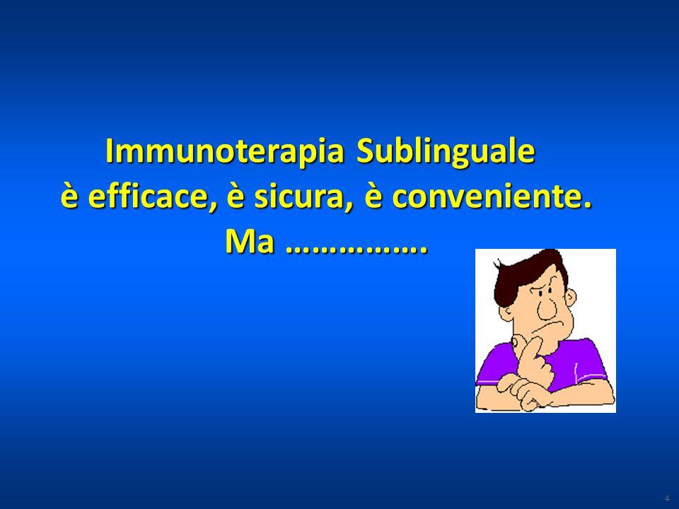 Immunoterapia Sublinguale è efficace, è sicura, è conveniente. Ma ……………. 4