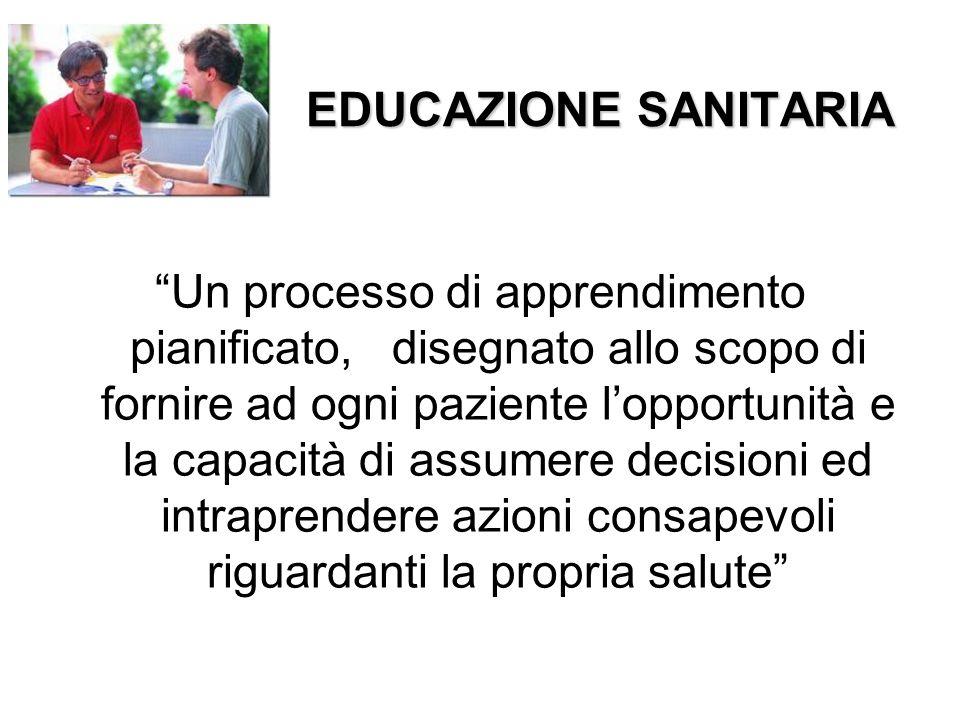 """EDUCAZIONE SANITARIA """"Un processo di apprendimento pianificato, disegnato allo scopo di fornire ad ogni paziente l'opportunità e la capacità di assume"""